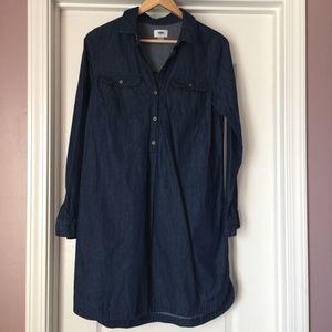 Old Navy Women's Blue Jean Denim Long Sleeve Dress